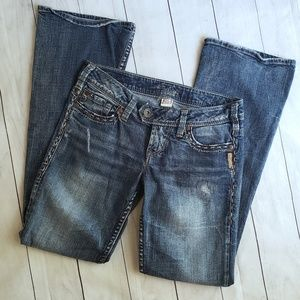 Silver bootcut distressed ladies jeans